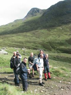 Walkers descending from Stuc a Chroin
