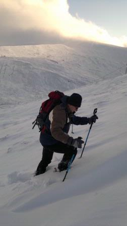 Climbing Cairnwell in the snow