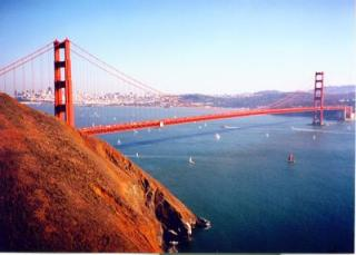 The Golden Gate Bridge with San Francisco behind