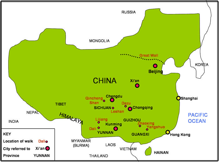 china map of walking story locations beijing great wall yunnan